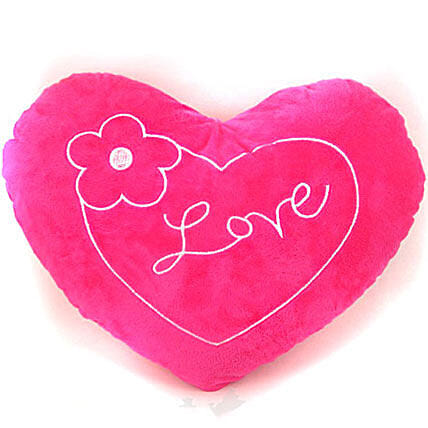 Pink Love Valentine Heart Pillow With A Flower:Send Gifts to Nepal