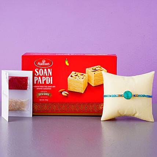 Agate Stone Round Rakhi And Soan Papdi:Rakhi with Sweets to Netherlands