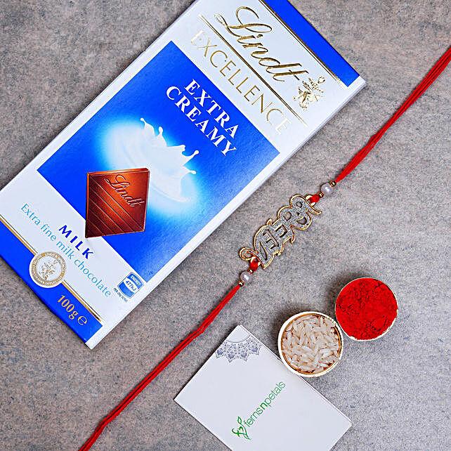 Beautiful Veera English Rakhi And Lindt Chocolate:Rakhi with Chocolates to Netherlands