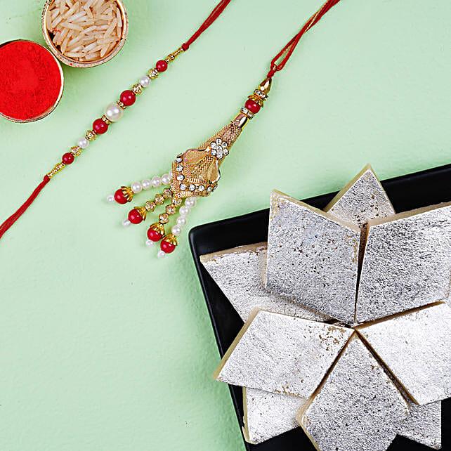 Fancy Lumba Set And Kaju Katli:Rakhi with Sweets Delivery in Netherlands