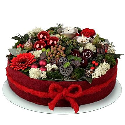 Red N White Christmas Floral Cake