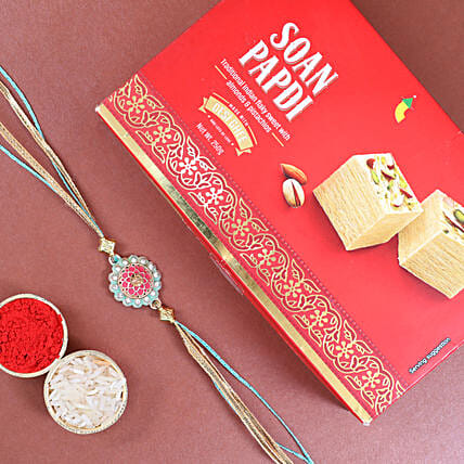 Traditional Design Rakhi And Soan Papdi:Rakhi with Sweets Delivery in Netherlands