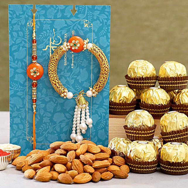 Orange Pearl Lumba Rakhi Set And Almonds With Ferrero Rocher