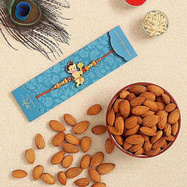 Bal Hanuman Kids Rakhi And Healthy Almonds:Rakhi Delivery in Netherlands