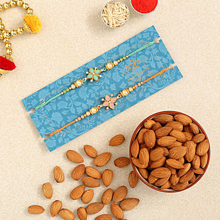 Stone Floral Rakhi Combo And Healthy Almonds