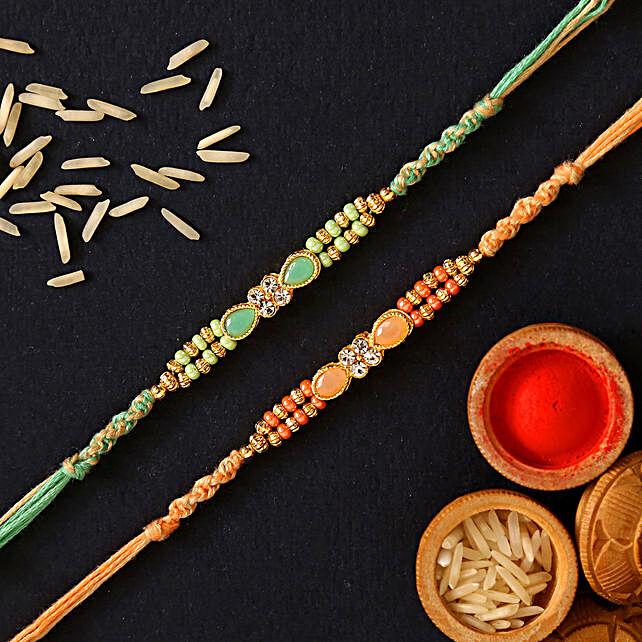 Green Stone And Orange Stone Rakhi Set:Send Rakhi to Netherlands