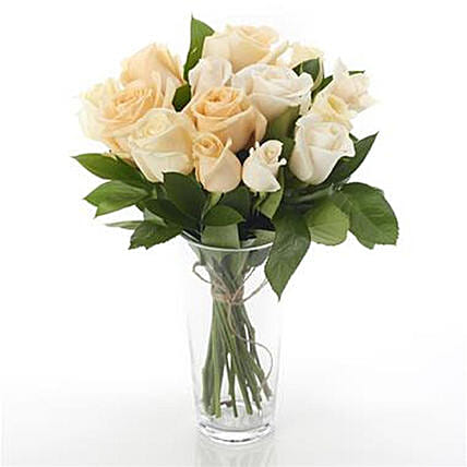 12 Mixed Peach N Cream Roses Arrangement:Thanks Gift Delivery in NZ