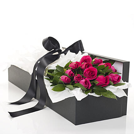 Box Of Hot Pink Roses:New Zealand Flowers