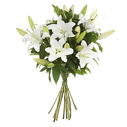 White Casablanca Lilie:Sympathy Flower Delivery New Zealand