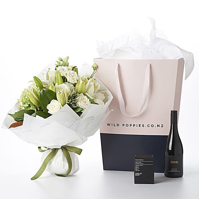 Flowers N Wine Gift Hamper:Send Flower Bouquets to New Zealand