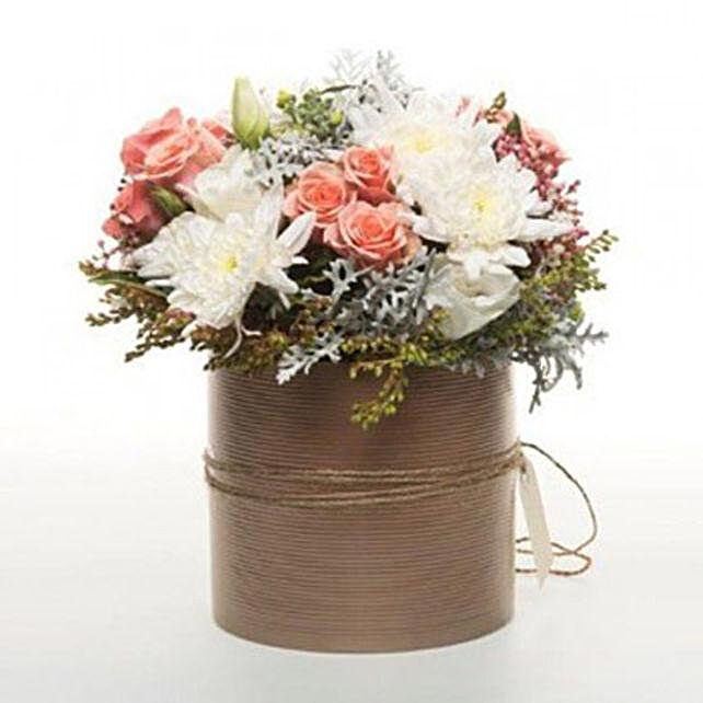 Peach Flowers In Copper Pot