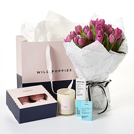 Pink Tulips Gift Set:Send Romantic Gifts to New Zealand