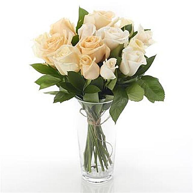 12 Mixed Peach N Cream Roses Arrangement