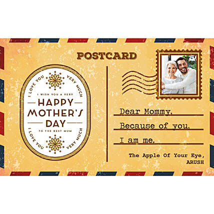 Personalised Because Of You Mom E Postcard:Send Mothers Day Gifts to New Zealand