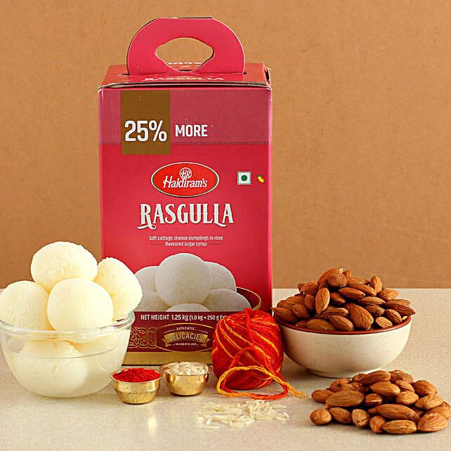 Happy Bhai Dooj Rasgulla And Almonds Combo:Bhai Dooj Gifts to NZ