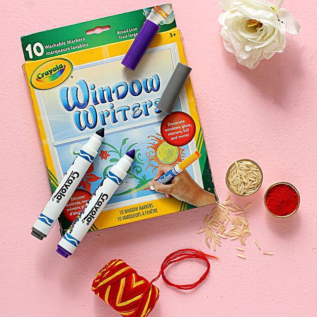 Bhai Dooj Best Wishes Crayola Window Writers Combo:Bhai Dooj Gifts to NZ
