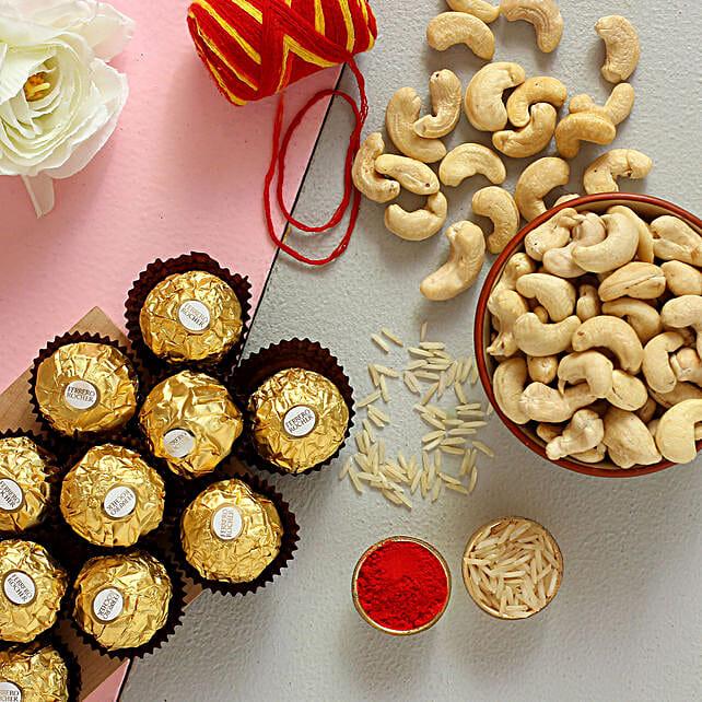 Bhai Dooj Celebration Ferrero Rocher And Cashews Combo