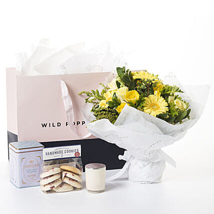 Yellow Flowers N Cookies Gift Hamper:Send Get Well Soon Gifts to New Zealand