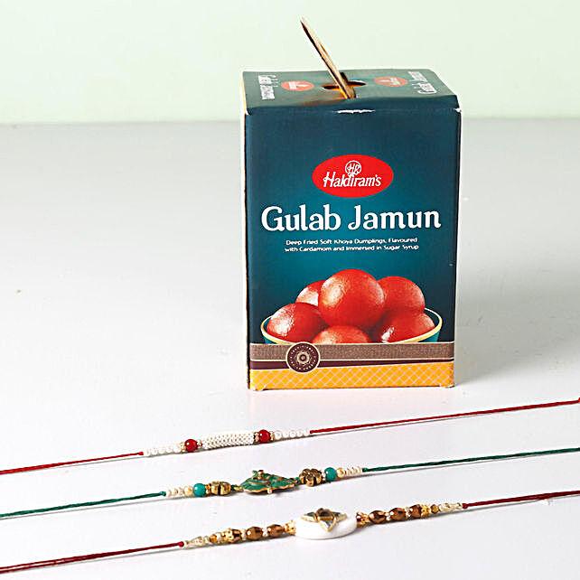 Combo Of Gulab Jamun And 3 Opulent Rakhis
