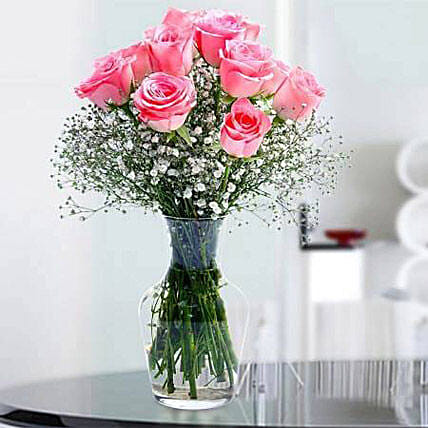 Glorious 12 Pink Roses OM