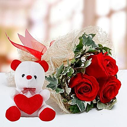 Red Roses and White Teddy Combo OM
