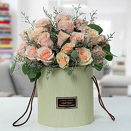 Serene Peach Roses Arrangement OM