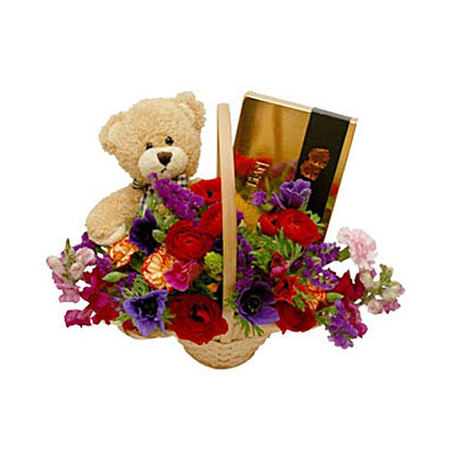 Classic Teddy Bear Basket:Send Wedding Gifts to Oman