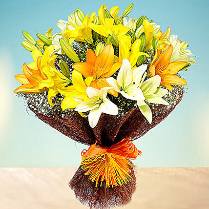 Sunny Asiatic Lilies OM:Anniversary Flower Delivery Oman