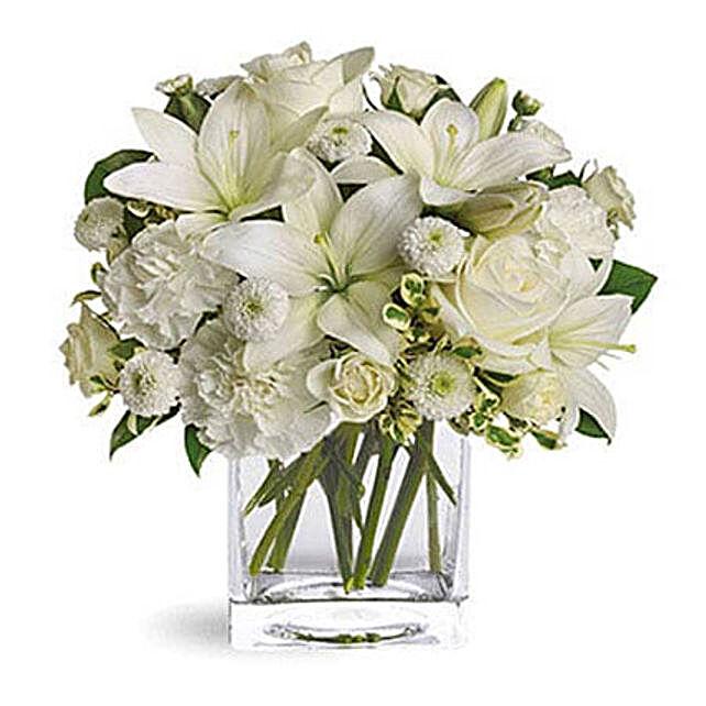 White Beauty OM:Send Anniversary Flowers to Oman