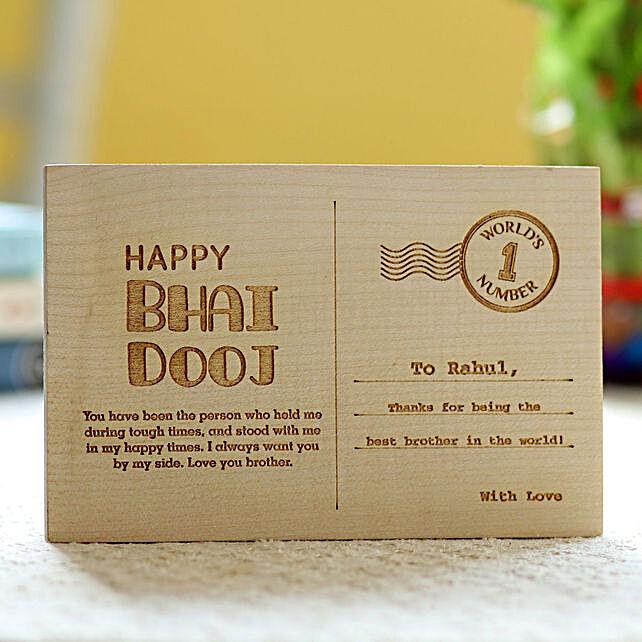 online wooden post card for bhai dooj:Send Bhai Dooj Gifts to Oman