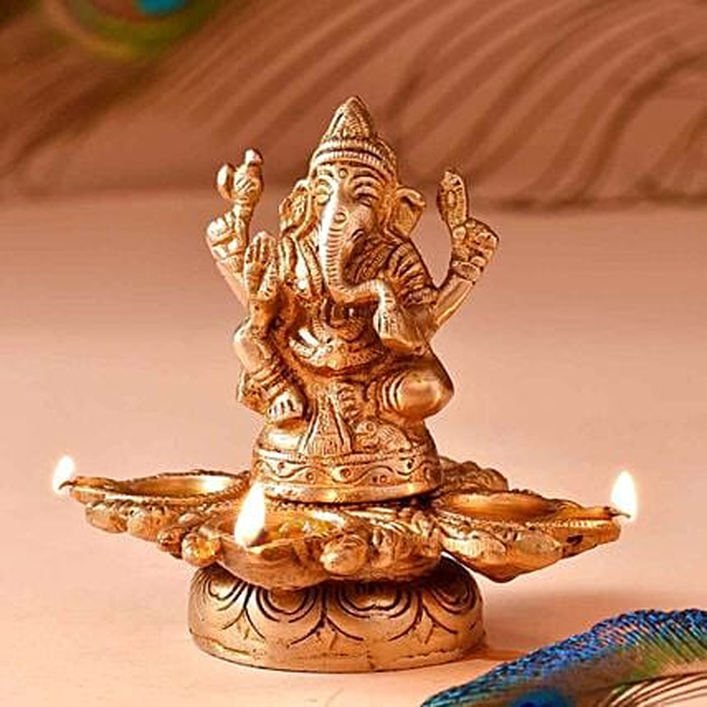 Lord Ganesha Brass Diya