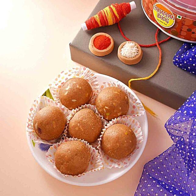 Happy Bhai Dooj Besan Laddoo With Teeka:Send Gifts to Oman