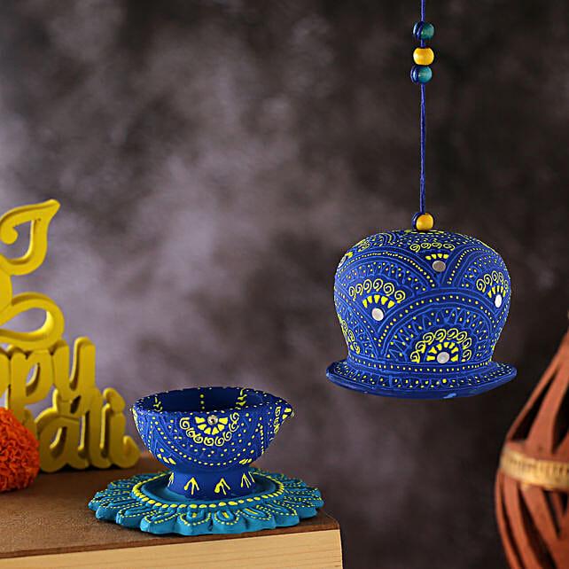 Blue Flower Base Diya With Bell