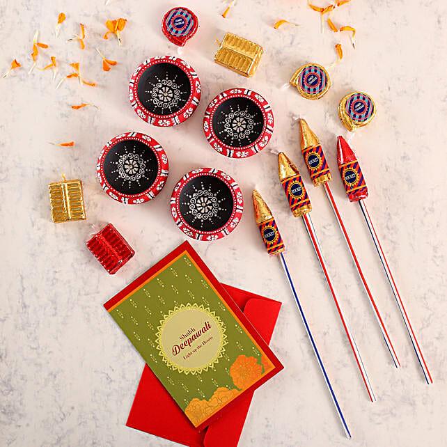 Set Of 4 Traditional Diyas With Chocolates And Greeting Card