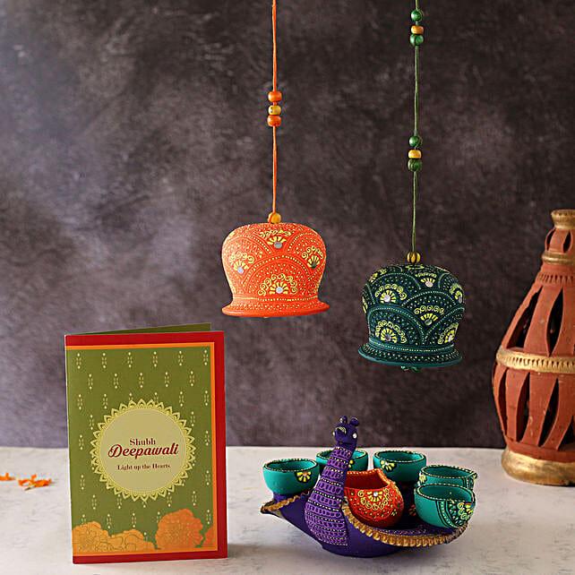Swan Diya With Bells And Diwali Greeting Card:Send Diwali Gifts to Oman