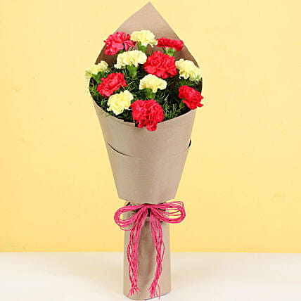 12 Pink Yellow Carnations Bouquet