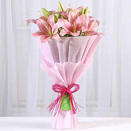 Admirable Asiatic Pink Lilies Bunch:Lilies