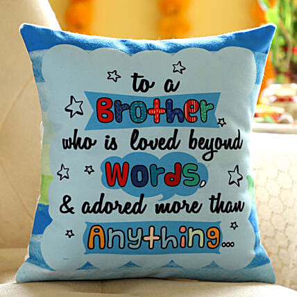 Online Printed Hindi Wishes Cushion For Brother:Bhai Dooj Gifts in Philippines
