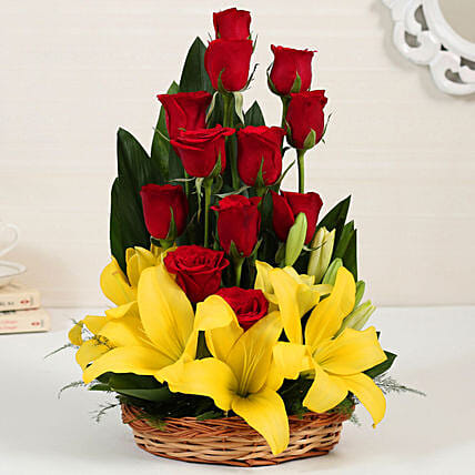 Asiatic Lilies & Red Roses Cane Basket Arrangement