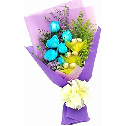 Blue Rose And Ferrero Bunch:Send Valentines Day Flowers to Philippines