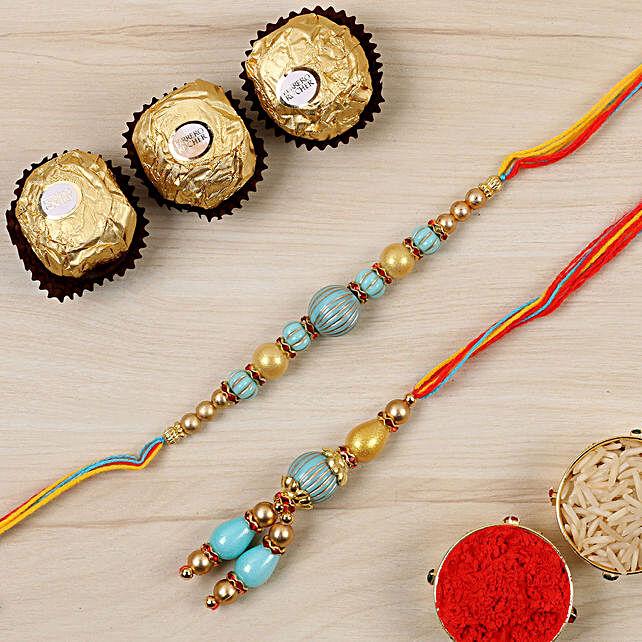 Blue Stone Bhaiya Bhabhi Rakhi And 3 Pcs Ferrero Rocher