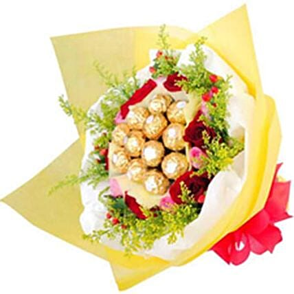 Classic Ferrero And Rose Bunch:Valentines Day Chocolates to Philippines