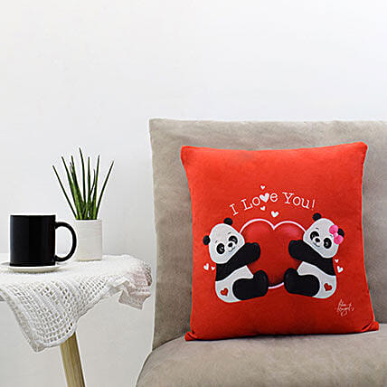Couple Panda Saying I Love You Red Pillow