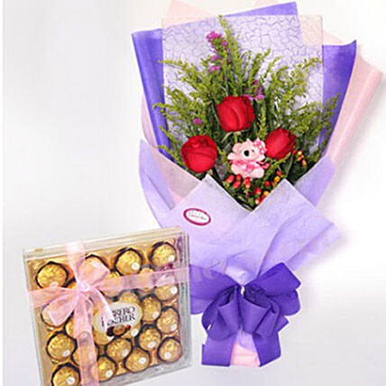Cute Small Teddy With Roses And Chocolates