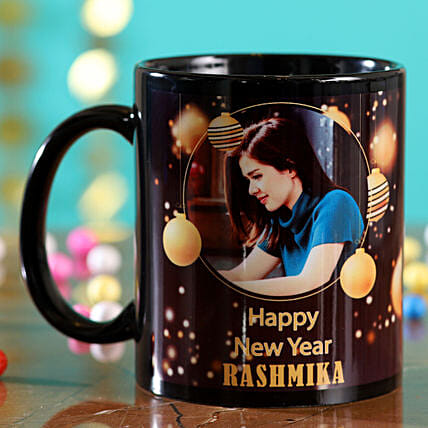 Happy New Year Personalised Black Mug:Send New Year Gifts to Philippines