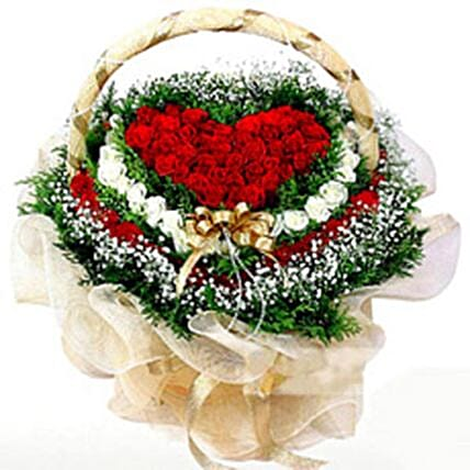 Hearty Flower Basket:Send Valentines Day Flowers to Philippines