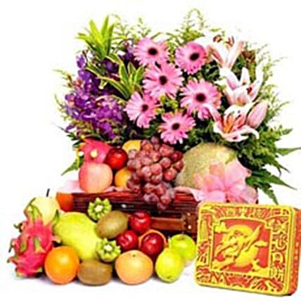 New Year Special Fruits And Floral Bouquet:Chinese New Year Gift Delivery in Philippines