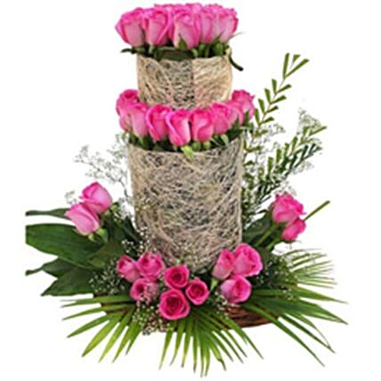 Pink Rose Tower Arrangement:Send Valentines Day Flowers to Philippines