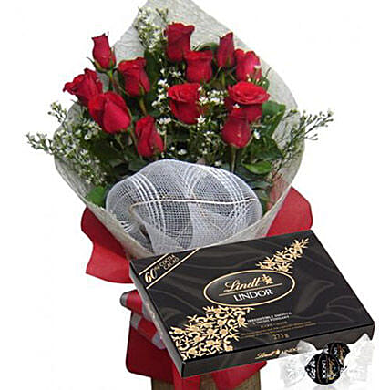 Red Rose Bouquet With Lindt Extra Dark Chocolate:Flowers and Chocolates Delivery in Philippines