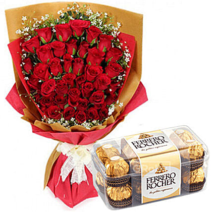 Romantic Chocolates And Rose Bouquet:Gifts for Her in Philippines